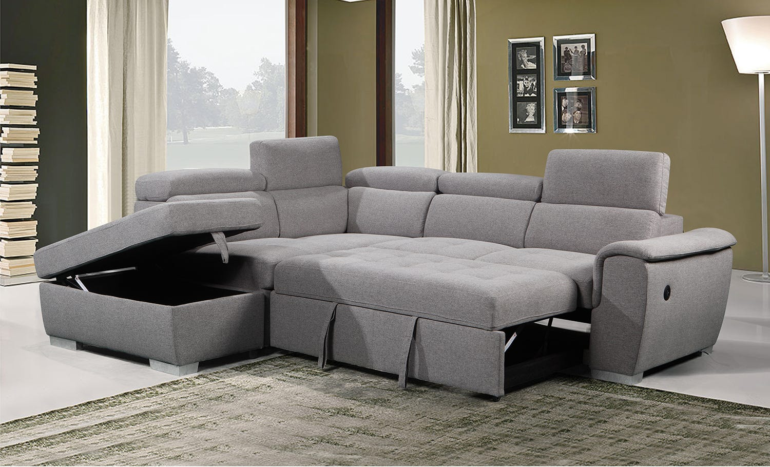 Sectional With Sofa Bed Storage Left Side Chaise Rd Furniture