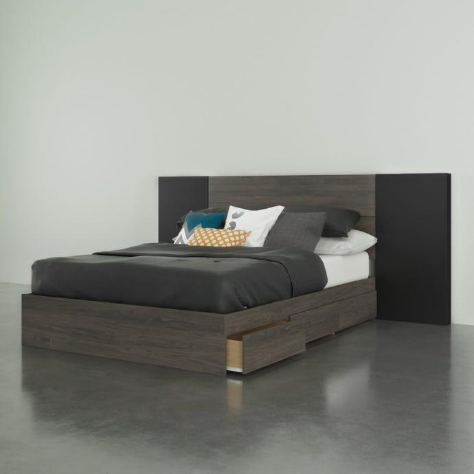 Ensemble de chambre a coucher double 3 pieces nexera, gris ecorce et noir