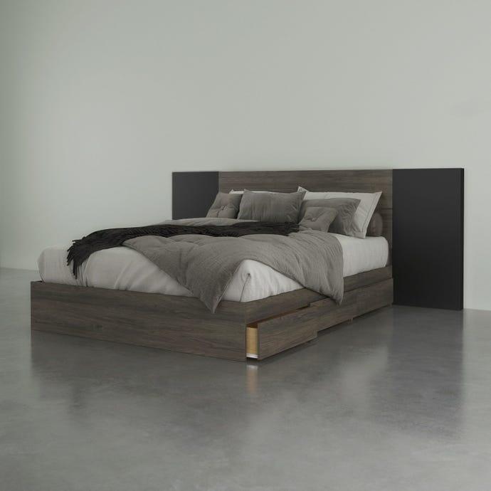 Ensemble de chambre a coucher queen 3 pieces nexera, gris ecorce et noir