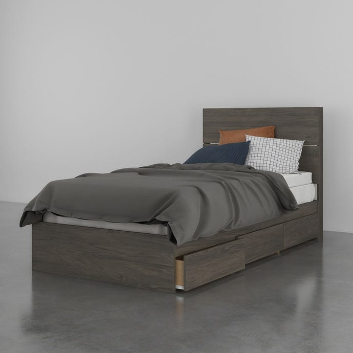 Nexera 2 Piece Twin Size Bedroom Set, Bark Grey
