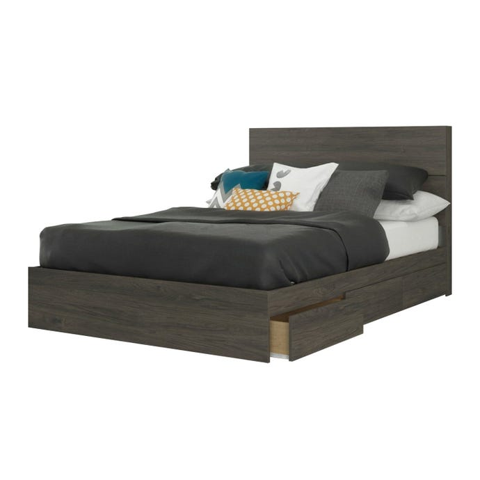 Nexera 2 Piece Full Size Bedroom Set, Bark Grey