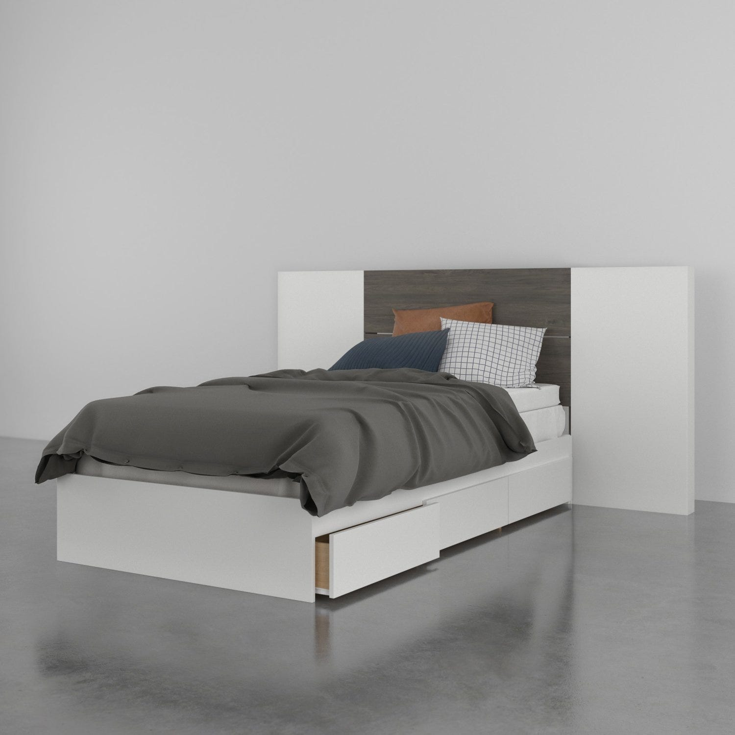 Lily 3 Piece Twin Size Bedroom Set, Bark Grey and White