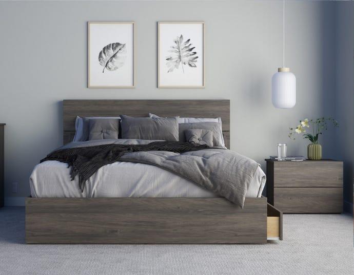 Elephant 3 Piece Queen Size Bedroom Set Bark Grey Rd Furniture