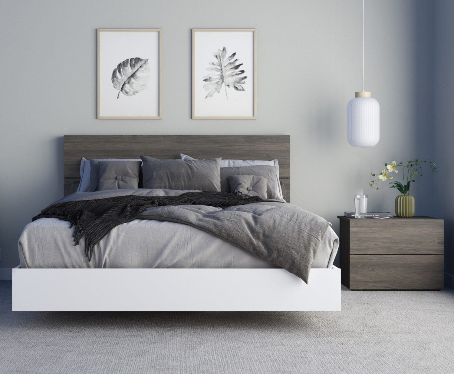 Pure 3 Piece Queen Size Bedroom Set Bark Grey And White Rd Furniture