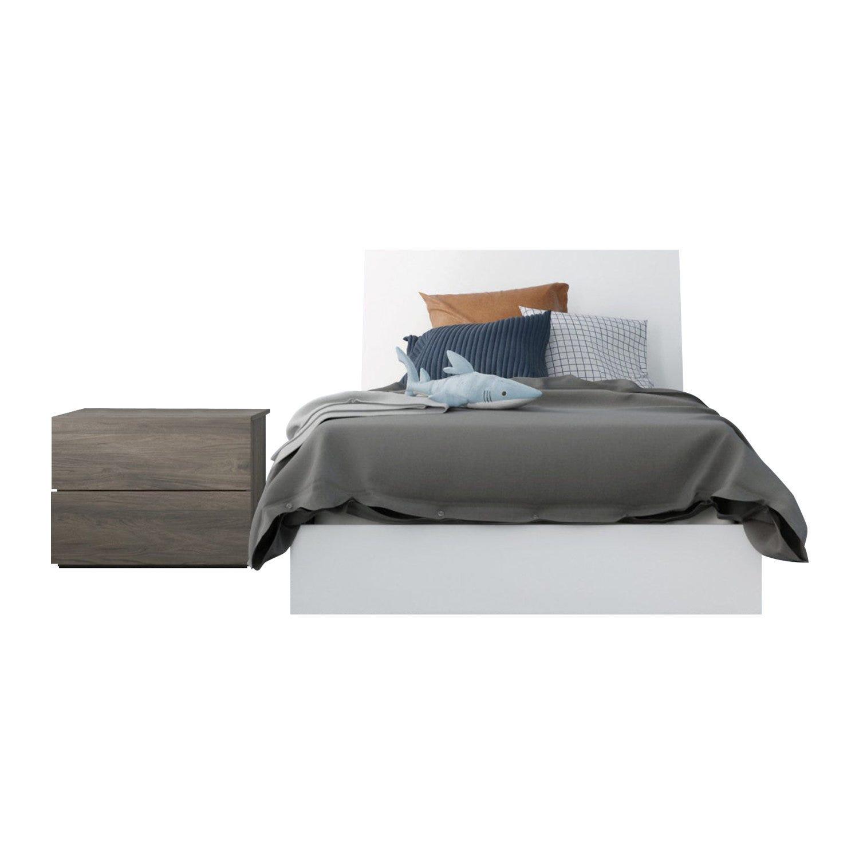 Unik 3 Piece Twin Size Bedroom Set, Bark Grey and White