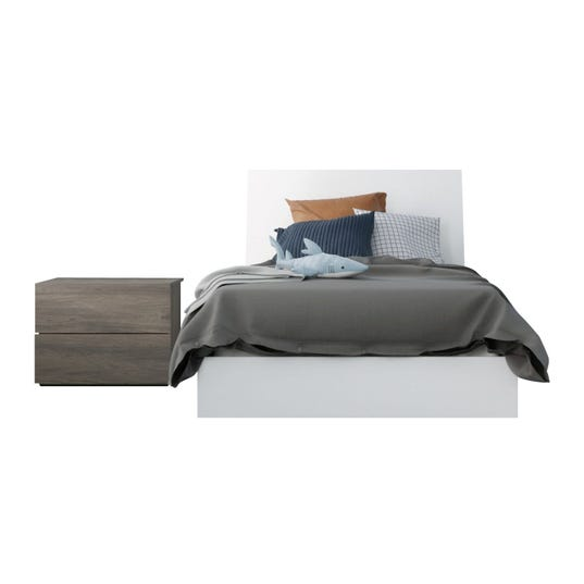 Unik 3 Piece Twin Size Bedroom Set, Bark Grey and White