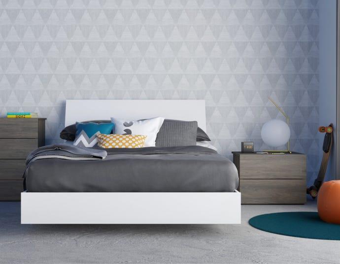 Ensemble de chambre a coucher double 3 pieces unik, gris ecorce et blanc