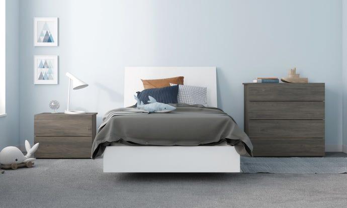 Unik 4 Piece Twin Size Bedroom Set, Bark Grey and White