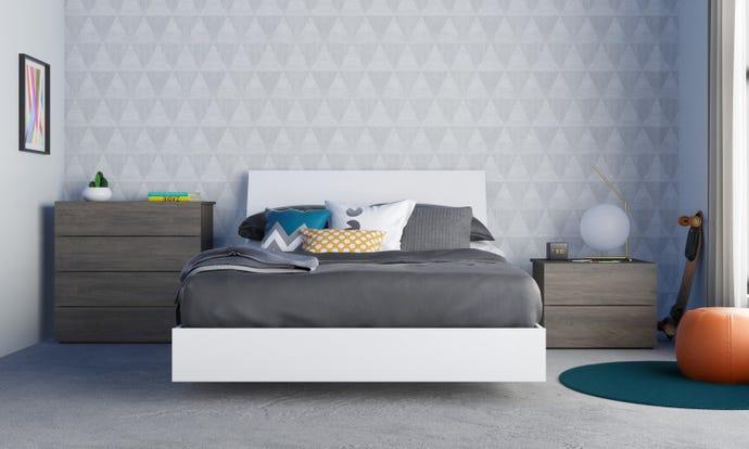Ensemble de chambre a coucher double 4 pieces unik, gris ecorce et blanc