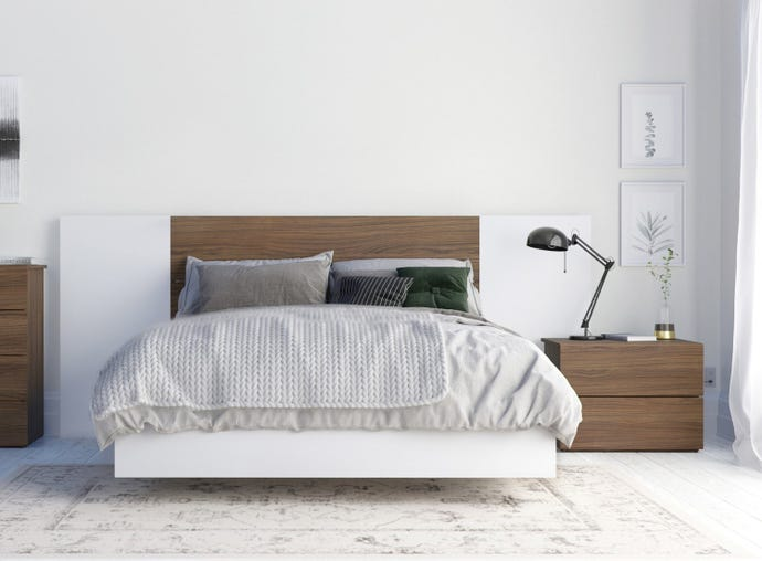 Octane 4 Piece Full Size Bedroom Set, Walnut and White