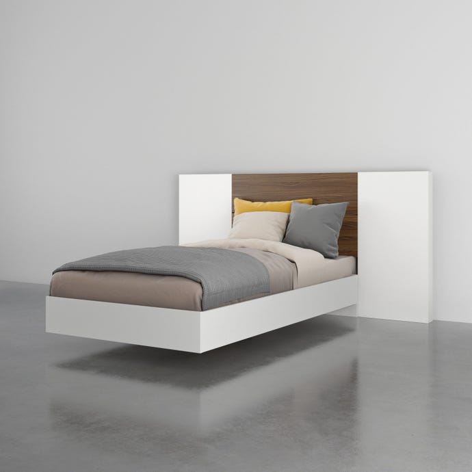 Octane 3 Piece Twin Size Bedroom Set, Walnut and White