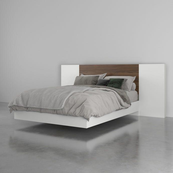 Ensemble de chambre a coucher double 3 pieces octane, noyer et blanc