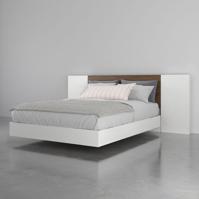 Octane 3 Piece Queen Size Bedroom Set, Walnut and White