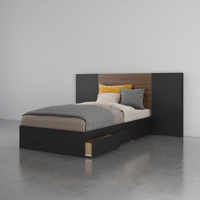Onyx 3 Piece Twin Size Bedroom Set, Walnut and Black